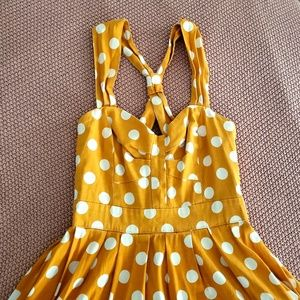 Cotton summer swing dress by Myrtlewood yellow dot